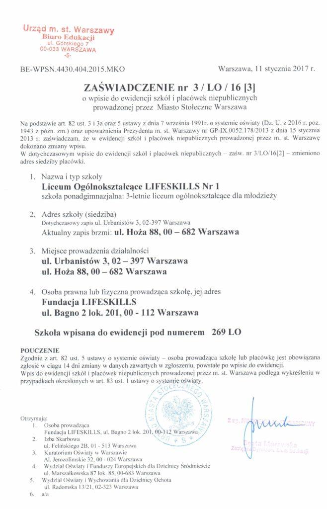Liceum Ogólnokształcące LifeSkills Nr1 wWarszawie - wpis doewidencji